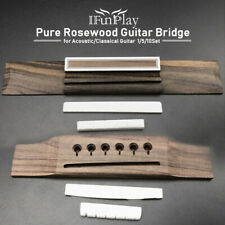 Acoustic Guitar Bridge 1/5/10 SET Real Rosewood Bone QUALITY Replacement 6String