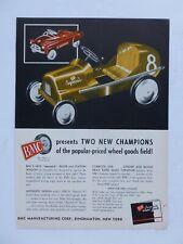 RARE 1951 DEALER Ad - BMC Mfg SPECIAL 8 RACER & STATION WAGON Pedal Car Vtg 50's