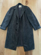 Vintage HARRIS TWEED SCOTLAND Scottish Wool long trench coat  44 XL