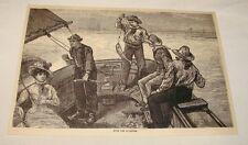 1886 magazine engraving ~ Fishing For Bluefish