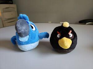 "Angry Birds Blue Macaw Rio and Black Bomb Bird Stuffed Animal 5"""