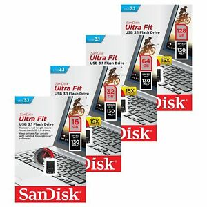 SanDisk  16GB/32GB/64GB Cruzer Ultra Fit USB 3.1 Falsh Drive Memory 130MB/s-UK