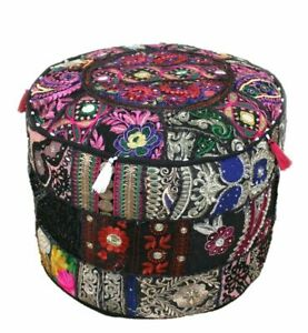 Embroidered Vintage ottoman puff cover Black cotton patch work footstool cover