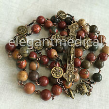 Vintage Catholic First Communion GIFT PICASSO STONE beads Rosary Cross Necklace