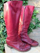 Ladies Ox Blood Genuine Leather Vintage 1960's Kinky Style Boots Size 6