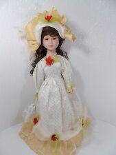 "Beautiful Brunette Porcelain Doll w/Cream/Gold Lace Dress w/Hat 20"" Tall - Vgc"