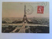 VINTAGE POSTCARD EIFFEL TOWER PARIS FRANCE GUSTAVE EIFFEL OBLITERATION TOP ART