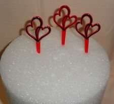 Red Double Hearts,Red and Silver,Cupcake Plastic Picks,12 ct,Multi-Color,DecoPac