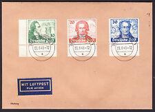 Berlin 1949 Goethe Stempel Tempelhof  MiNr. 61-63 auf Luftpost Brief Fälschung