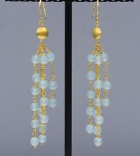 CHALCEDONY EARRINGS STERLING SILVER DANGLING CHANDELIER BEADS HAND MADE
