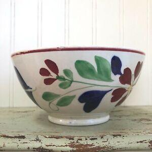 Antique Bowl Stick Spatter Cut Sponge  Rose Staffordshire England Floral
