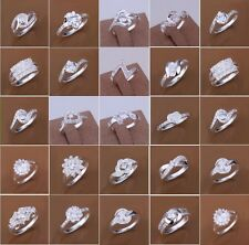 925 Sterling Silver Filled Crystal Zircon Ring Women Fashion Jewelry Size O Q