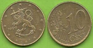 Finlande; 10 cent, 1999 ou 2000; pièces ayant circulé