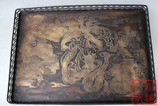 Chinese old Tibetan Brass carved Tea tray ornaments