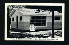 Stone Lake Wisconsin WI c1940s Sommers Resort Cottage 9 on Sand Lake