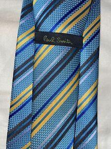 PAUL SMITH 61 X 4 100% Silk Necktie ITALY Luxury Designer STRIPED Multi-Color