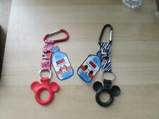2 Piece Authentic Disney Mickey & Minnie Mouse Water Bottle Holder Key Ring New