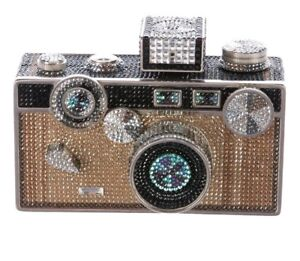 Judith Leiber Camera Bag Black Gold silver Crystals Evening Purse Minaudiere NEW