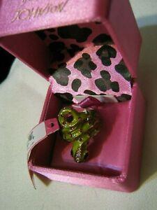 New in Box w/ Macys Return Label BETSY JOHNSON Green Snake Ring w/ Red Stones