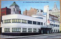 1940s Linen Postcard: Greyhound Bus Terminal, Cincinnati, Ohio OH