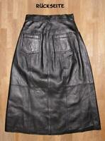 """langer """" QUIED-PIE """" LEDERROCK / Rock im Jeans- Style in schwarz in ca. Gr. 34"""
