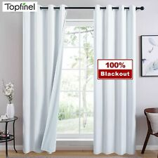 100% Blackout Curtains Bedroom Living Room Window White Solid Finished Drapes