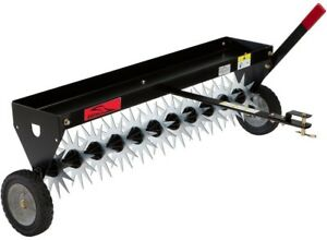 40 in. Tow-Behind Spike Aerator with Transport Wheels Loosening Soil Durable