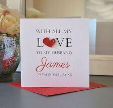 Personalised Valentines Card Heart Diamante Husband wife boyfriend girlfriend