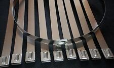 "10x Chrome 8"" Stainless Steel Zip Tie Self Locking Cable Straps Header Wrap fu"