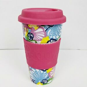 Lilly Pulitzer Seashell Pattern Ceramic Silicone Travel Cup Tumbler 16 Oz