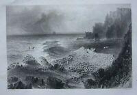 GIANT'S CAUSEWAY, N. IRELAND, original antique Victorian print, Finden, c.1841
