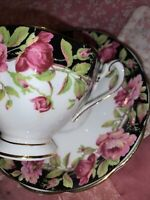 Vintage Queen Anne Black Magic Gilt Tea Cup & Saucer Bone China