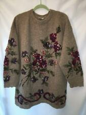 Vintage Laura Ashley Oversized Floral Intarsia Wool Sweater Bust 56
