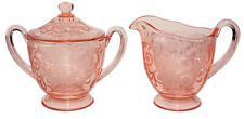 Fostoria Versailles Pink Sugar and Creamer with Hard to Find Lid