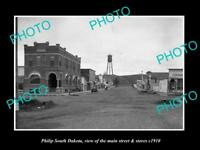 OLD LARGE HISTORIC PHOTO OF PHILIP SOUTH DAKOTA, VIEW OF MAIN St & STORES c1910
