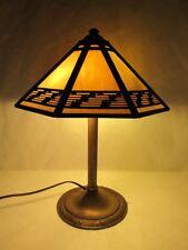 MAGNIFICENT C.1920 BRADLEY & HUBBARD SLAG GLASS LAMP SIGNED ON SHAD & BASE