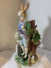 Fitz And Floyd Old World Rabbit Gentleman Rabbit Candle Holder - Beautiful!