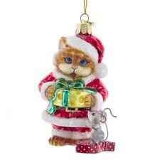 Santa Paws Cat Glass Ornament