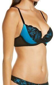 Ann Summers Paris Night Teal Blue & Black Plunge Boost Bra Size 38 DD Free Post