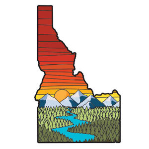 Idaho Great Northwest Outdoors Mountain Sunset Forest Trees River Decal Sticker