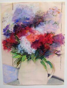 "Artist M. Nelsen Original Vintage Pastel Painting Flowers Unframed 18"" x 24"""