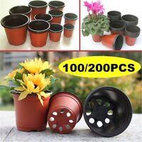 100/200x Plastic Garden Nursery Pots Flowerpot Containers Seedlings Planter  US