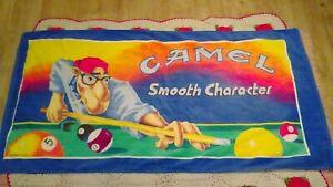 "Vintage 1991 Camel Cigarettes Towel 30"" x 58"" Shooting Pool Smoking 8 Ball"