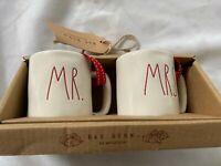 Rae Dunn by Magenta MR. MRS. Ceramic LL Red Letter Mini Mug Christmas Tree Orn.