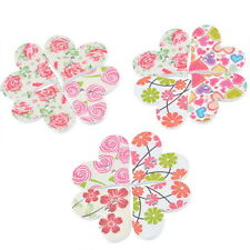 50PCs HOT Wooden Buttons Heart Flower Randomly Mixed 2-hole Sewing Scrapbooking