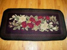 ANTIQUE EARLY 1900s HOOKED ROSES FLOWERS BRAIDED RUG UNUSUAL FRENCH FARMHOUSE