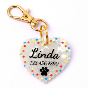 Heart Shape Custom Personalized Pet Dog ID Tags with Name Number Print Cute Paw