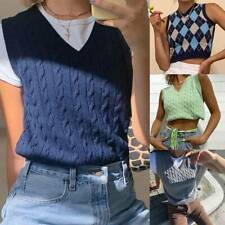 Womens Retro V Neck Sleeveless Plaid Knitted Crop Vest Pullover Sweater Tops UK