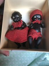 Vintage Pair of Jointed Miniature Bisque Baby Dolls