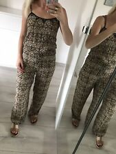 River Island Uk8 S Jumpsuit Playsuit All In One Summer Top Pants Floral Brown .